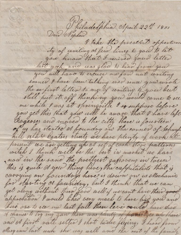 """""""THE CAPPITALISTS HERE IS DOWN ON US MECHANICS FOR STARTING A FOUNDRY."""" Letter from a foundry worker to his nephew describing the start-up of a mechanic-owned stove foundry in Philadelphia. John D. Painter."""