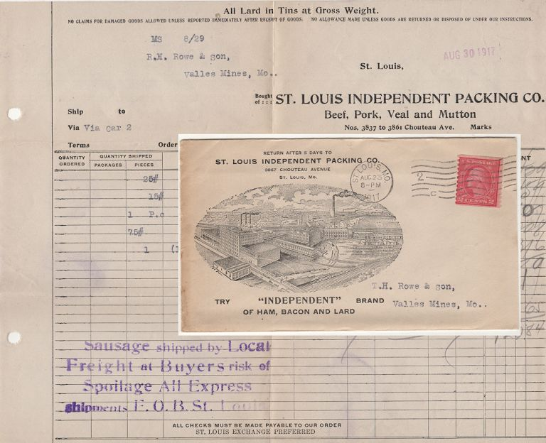 """""""SAUSAGE SHIPPED BY LOCAL FREIGHT AT BUYERS RISK OF SPOILAGE"""" – An attractive advertising cover for one of the largest """"independent"""" meat packing companies in the United States. St. Louis Independent Packing Co."""