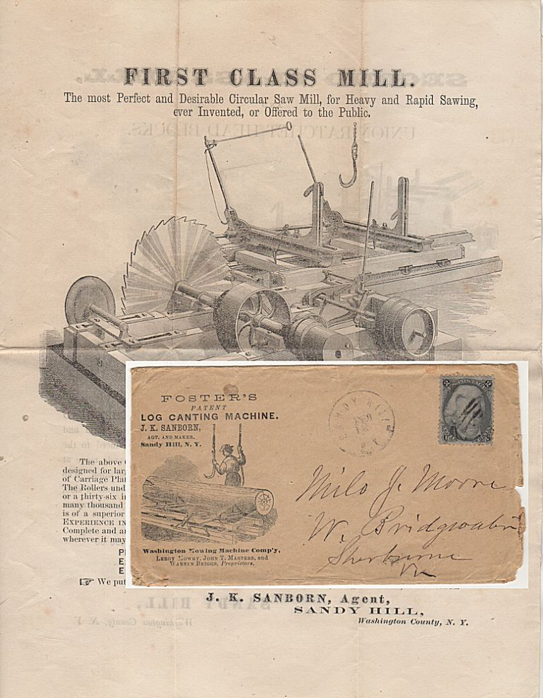 """""""THE GREATEST MONEY-MAKING AND MAN-SAVING MACHINE EVER INTRODUCED INTO A SAW MILL"""" Advertising packet for Foster's Log Canting Machine and other Saw Mill Equipment. J. K. Sanborn."""