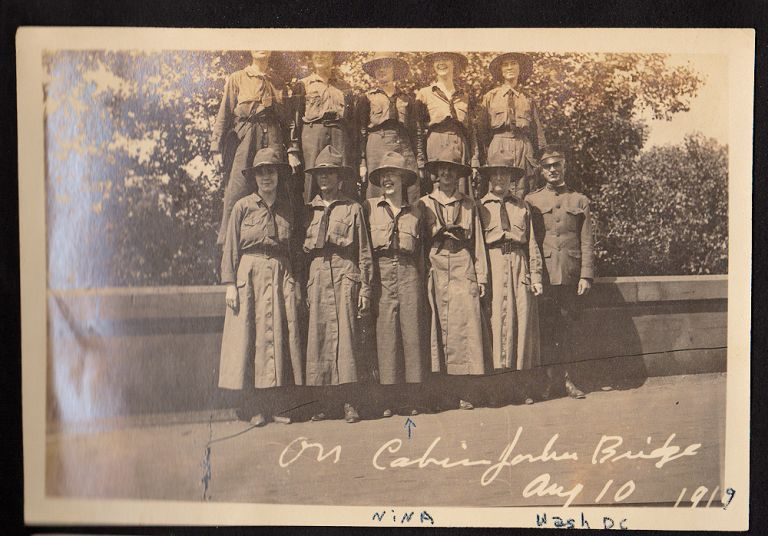 """""""'PICK UP YOUR DRESS!' (FEMININE VERSION)'"""" – Photograph album documenting life at the National Service School for girls, a quasi-official, paramilitary program designed to prepare young women for service in support of the U.S. military during World War One. perhaps named Nina Unidentified compiler."""