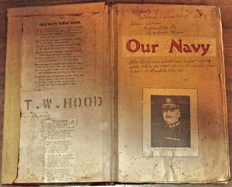 """""""THAT OLD NAVY SCRAP BOOK OF MINE; IT'S CRAMMED FULL OF PICTURES AND HAPPENINGS OLD, OF THE DAYS THAT ARE NOW LEFT BEHIND."""" An extensive sailor's archive (a huge scrapbook, hundreds of photographs, and five oral history tapes) documenting his pre-WWII service on the flagship of the U. S. Asiatic Fleet. Thomas Wallace Hood."""