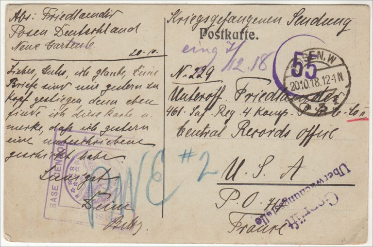 """""""HOPEFULLY YOU ALREADY HAVE A LOT OF LETTERS AND PARCELS FROM US."""" A postcard from home sent to a German prisoner of war held at an American Prisoner of War Enclosure following the Battle of Belleau Wood. Sent to Unterofficier Friedlaender, Sergeant."""