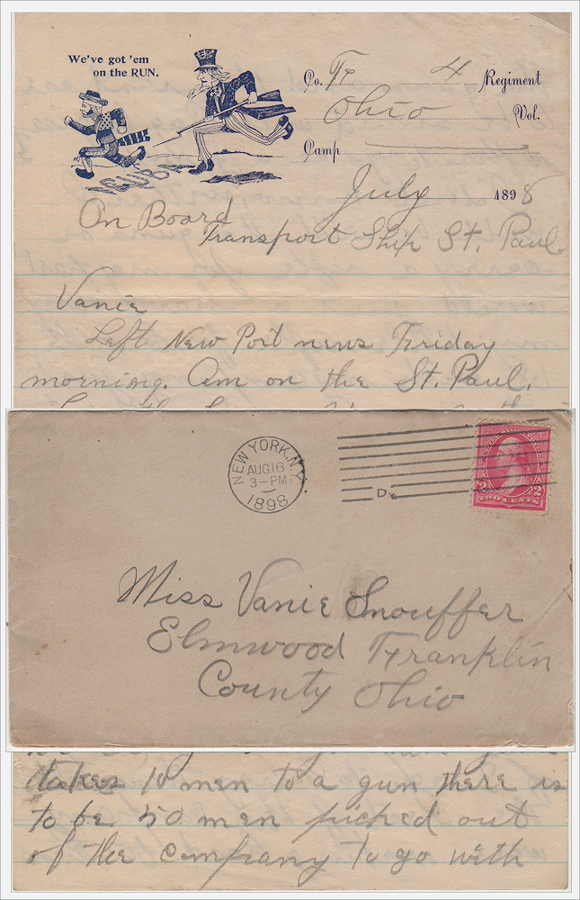 """""""BY THE WAY OUR COMPANY HAS BEEN MADE A DYNAMITE BATTERY WE CARRY 5 DYNAMITE GUNS TAKES 10 MEN TO A GUN."""" Spanish-American War letter home from a soldier en route to Puerto Rico describing his role in employing the most advance artillery of the time. William V. Preston."""