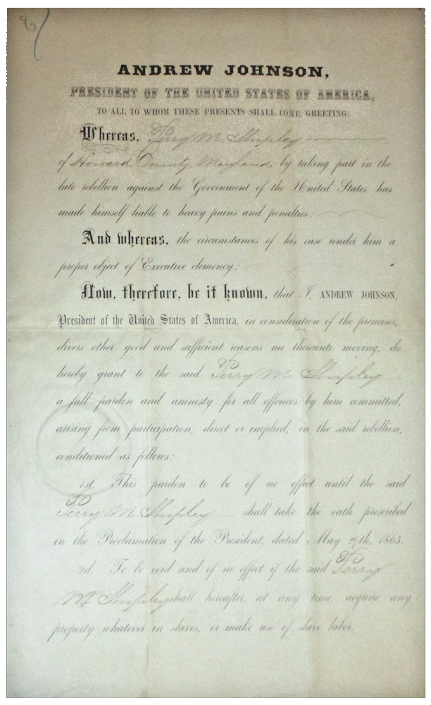 Civil War Presidential Pardon by Andrew Johnson for Perry M. Shipley. Andrew Johnson.