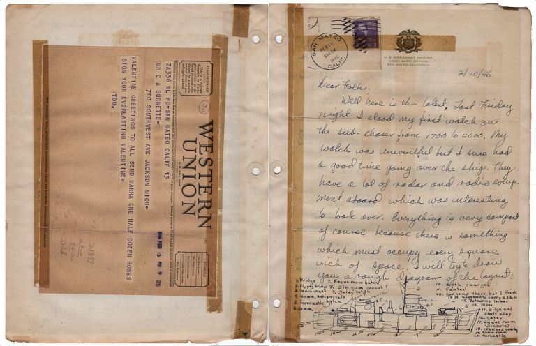"""""""DEAR FOLKS, WELL HERE IT IS THE END OF THE SECOND DAY AND QUITE A BIT OF WATER HAS GONE OVER THE DAM ALREADY."""" Huge four-year correspondence archive from a cadet enrolled at the U.S. Merchant Marine Cadet Basic School at San Mateo, California as it transitioned into U.S. Merchant Marine Academy and consolidated operations at Kings Point, New York. Thomas C. Burnett."""