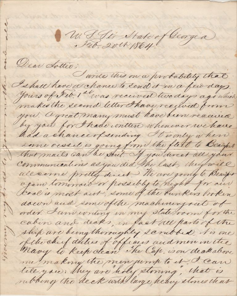 """""""THE IRON CLADS IN THE RIVER ARE ABOUT TO MAKE AN ATTACK ON US AND I SHOULD NOT BE SURPRISED IF THE SHOULD BE UPON US SOME STILL DARK NIGHT. . .. WE DON'T MEAN TO RUN AND GIVE UP THE BLOCKADE."""" Letter from the first African-American graduate of Yale who became the U.S. Navy's only African-American Ship's Surgeon during the Civil War. R H. G., Richard H. Green."""