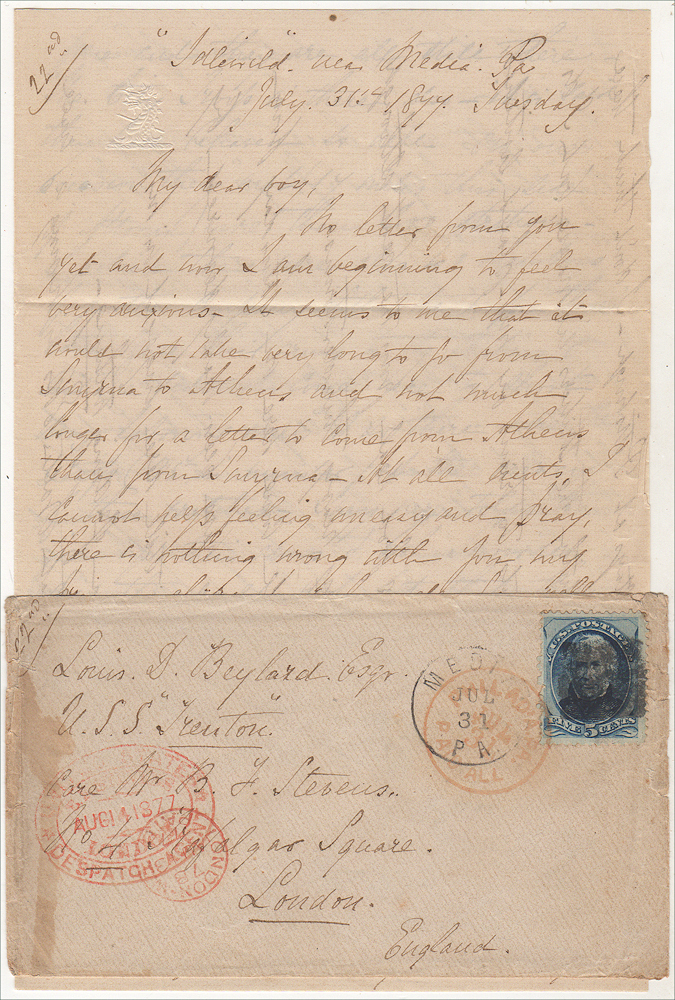 """""""ON ONE OCCASION THEY MET 14 MILES THIS SIDE OF ALTOON MORE THAN 200 STRIKERS."""" Letter from a prominent Pennsylvania woman to her overseas Naval Officer son describing the Philadelphia City Troop's response to the Great Railroad Strike of 1877. Maria C. Rudder to Luis S. Beylard."""