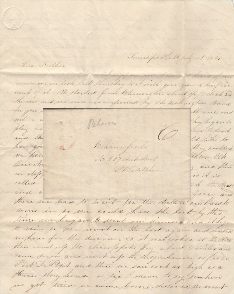 """""""IF SHE LOOKS AND SEES ME SCRATCHING THIS INSTEAD OF CYPHERING SHE WILL GIVE ME A TASK. . .."""" A precocious young girl's detailed letter to her brother describing a day-long class excursion by """"car"""" and boat from Wilmington, Delaware to Havre De Grace, Maryland. Rebecca Earl Jenks."""