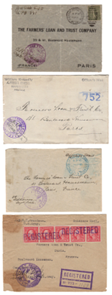 AN AMERICAN TRUST COMPANY SERVES THE NEEDS OF THE AMERICAN EXPEDITIONARY FORCE (AEF) DURING WORLD WAR ONE. An exceptional postal history collection of intra-theater WWI AEF covers. All addressed to the Paris office of the Farmers Loan, Trust Company.