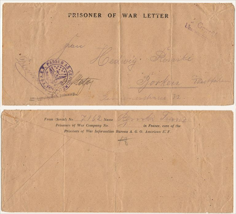 """""""FROM . . . PRISONER NO 7162 [HELD BY] U.S PRISONER OF WAR COMPANY NO. 1 IN FRANCE."""" A legal-size preprinted envelope used by a German POW. Franz Remki."""