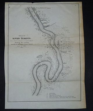 Sketch of the River Tabasco from Devil's Bend to St. Juan Battista Shewing the Landing and March of Commre Perry's Forces, June 16th 1847. An Officer Accompanying Commodore Perry.