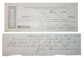 Early Republican Party Receipts - 1854 & 1856. Unlisted