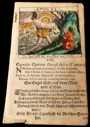 Leaf from a 1693 German Children's Bible: Revelation (Apocalypse) 10 - Angel with the Book. NA.