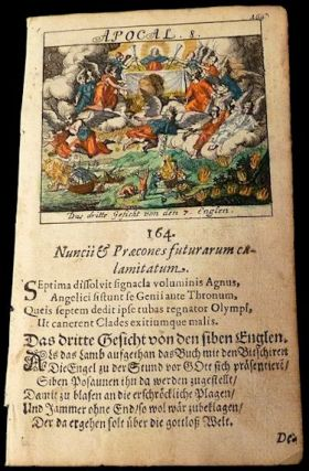 Leaf from a 1693 German Children's Bible: Revelation (Apocalypse) 8 - Angels and Trumpets. NA.