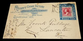 Reliance Cigar Factory Advertising Envelope. Unlisted