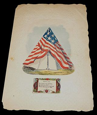 Civil War Patriotic Movable Tent Valentine with Its Original Patriotic Envelope