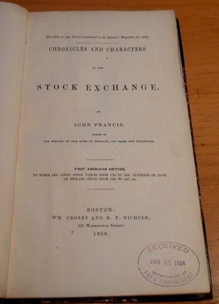 Chronicles and Characters of the Stock Exchange (with Defoe's Anatomy of Exchange Alley as an Appendix)