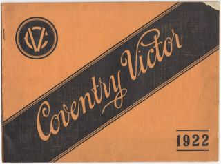 Coventry Victor Motorcycle Catalog for 1922. Unlisted.