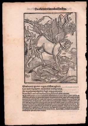"""Original Leaf with Two Albrecht Dürer Woodcuts from Sebastian Brant's Nauis Stultifera Collectanea. (Das Narrenschiff or The Ship of Fools) - """"Teaching of Wisdom"""" and """"Stroking a Fallow Stallion"""""""