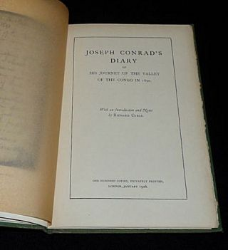 Joseph Conrad's Diary of His Journey Up the Valley of the Congo in 1890