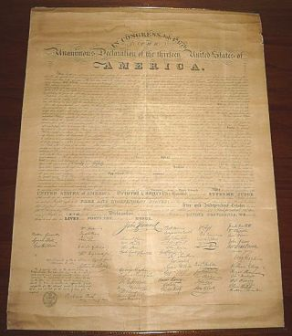 The Unanimous Declaration of the Thirteen United States of America in Congress. [Benjamin Tyler-Giles Lithograph printing of the Declaration of Independence]