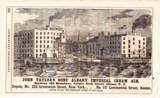 John Taylor's Sons' Albany Imperial Cream Ale. John Taylor's Sons' Brewery