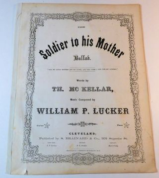 The Soldier to His Mother: Ballad (Two Alternate Titles: On the Field of Battle, Mother and Just Before the Battle, Mother) - Sheet Music