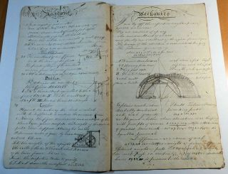 Early 19th Century Handwritten Mechanic's Lesson Book