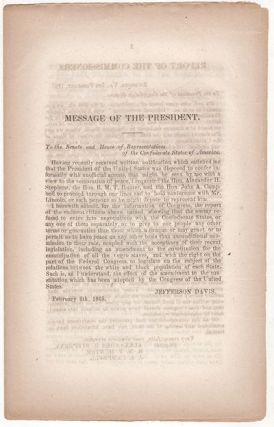 [Confederate Imprint - Hampton Roads Peace Conference] Message of the President . . . submitting a report of the commissioners . . . with a view to the restoration of Peace