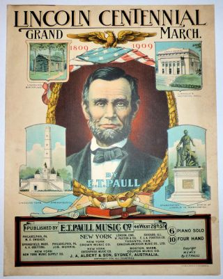 Lincoln Centennial Grand March (Sheet Music Cover)