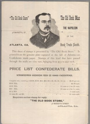 """Pane of 70 """"Altered Plate"""" Confederate 10-cent Jefferson Davis stamps with an advertisement for """"The Old Book Store"""" printed on the reverse."""