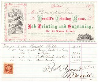 Multi-Color Illustrated Billhead for Morrill's Printing House with U.S. Revenue Stamp.
