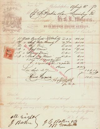 Illustrated Billhead for Myer's Wine and Spirit Importers with U.S. Revenue Stamp