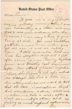 12-page Letter from Canon City, Colorado to North Adams, Massachusetts referencing the Colorado National Guard, the Battle of Ludlow, Mexican Border Service, a Strike in North Adams Massachusetts, Auto Touring, and Infantile Paralysis. Unidentified.