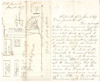 Letter about the Marietta & Cincinnati (M&C) Railroad and Hocking Valley (HV) Railway with a Hand-drawn Map of the M&C Shops in Chillicothe, Ohio