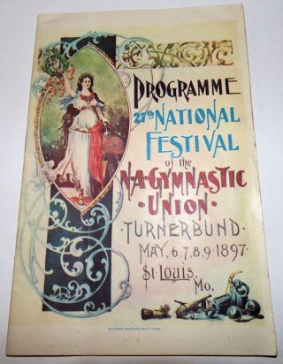 1897 North American Gymnastic Union (Turnerbund) Festival Program with Full-Color Anheuser-Busch Advertising