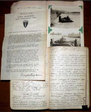 Normandy Invasion D-Day Landing archive: Liberty Ship's log, photograph album, and assorted ephemera