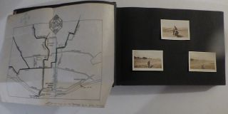 Scrapbook-photograph album documenting a cross-country trip from Brooklyn to San Francisco on a Harley-Davidson motorcycle.