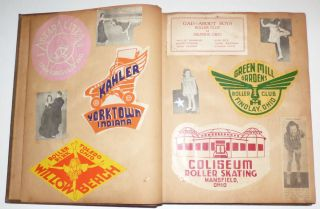 Scrapbook containing a Collection of 185 Roller Skating Rink Stickers.