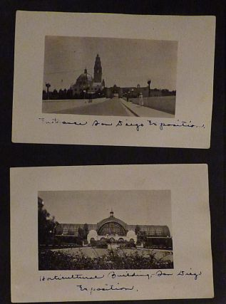 Photograph album documenting a trip to the 1915 California world's fairs: the California-Pacific Exposition in San Diego and Panama-Pacific Exposition in San Francisco. Unknown compiler.