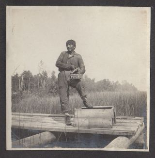 Photograph album documenting a hunting and fishing trip to Georgian Bay led by Native American guides. Unknown compiler.