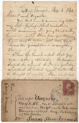 Letter to the wife of a Union soldier wounded on picket duty while guarding approach to ...
