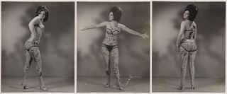 Three photographs of a body-painted woman from the late 1960s
