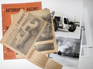 "Collection of photographs and articles about the Harry Miller ""Special"" race car that set 33 speed records at the Bonneville Salt Flats. Various sources."