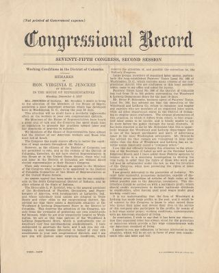 Working Conditions in the District of Columbia. Transcript of a speech given by the Honorable...