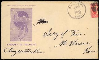 "Illustrated advertising envelope and letter promoting ""Professor"" Edward Rush's balloon ""aeronauts and parachute artists."""