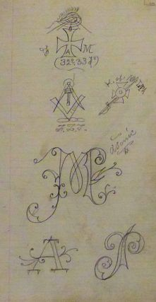 Early 20th century sketchbook including disturbing outsider art, probably used as a tattoo flash book