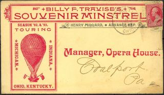Illustrated advertising envelope promoting Billy F. Travise's Souvenir Minstrels. Henry Millard