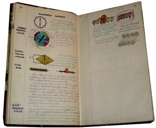 An exceptionally well-illustrated student's notebook for a 24-week course at the U. S. Navy Electrical School. Fireman Second Class Joseph Camerata.