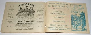 "Instructions for Schoenhut's Toy Piano with an advertisement for ""Shoenhut's Boy's Outfits: Soldier's Firemen's Police"" on the rear cover"